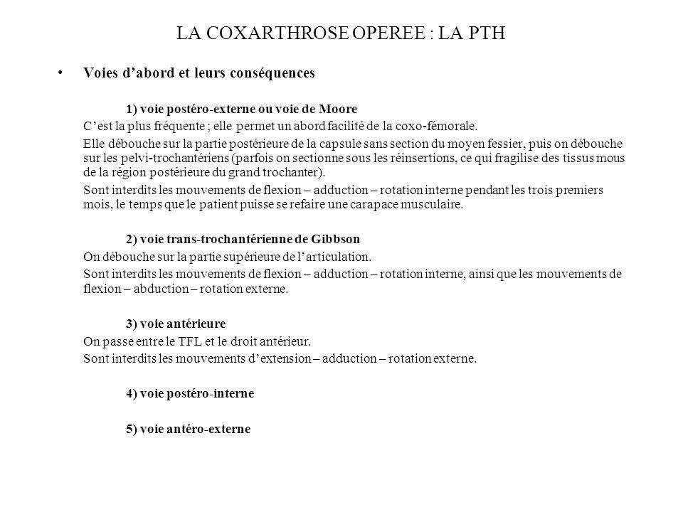 LA COXARTHROSE OPEREE : LA PTH