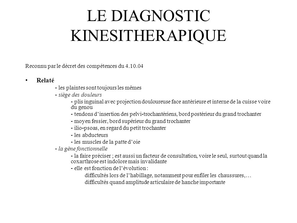 LE DIAGNOSTIC KINESITHERAPIQUE