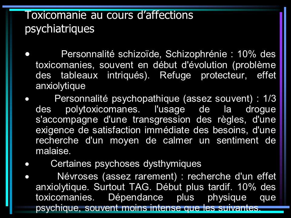 Toxicomanie au cours d'affections psychiatriques