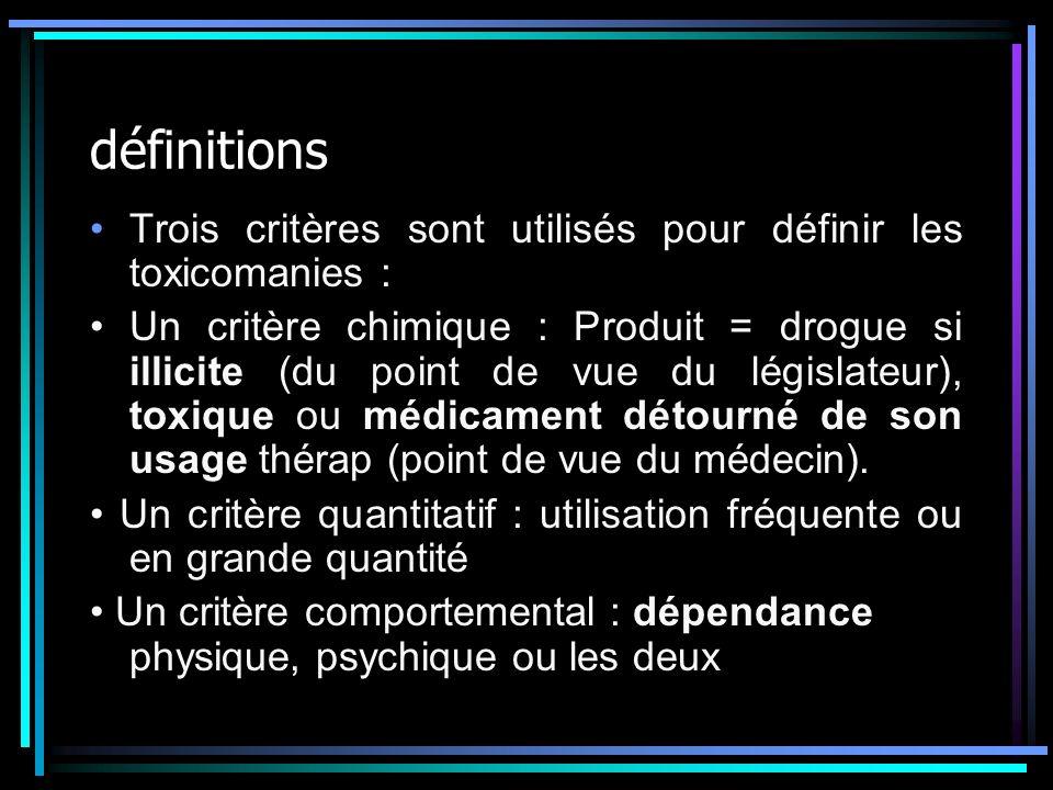 définitions Trois critères sont utilisés pour définir les toxicomanies :