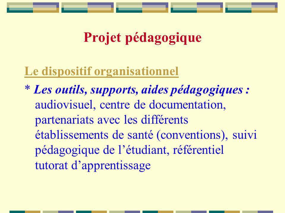 Projet pédagogique Le dispositif organisationnel