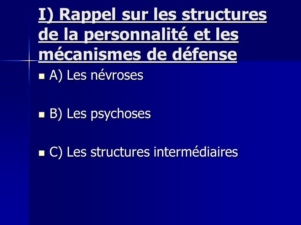 I) Rappel sur les structures de la personnalité et les mécanismes de défense