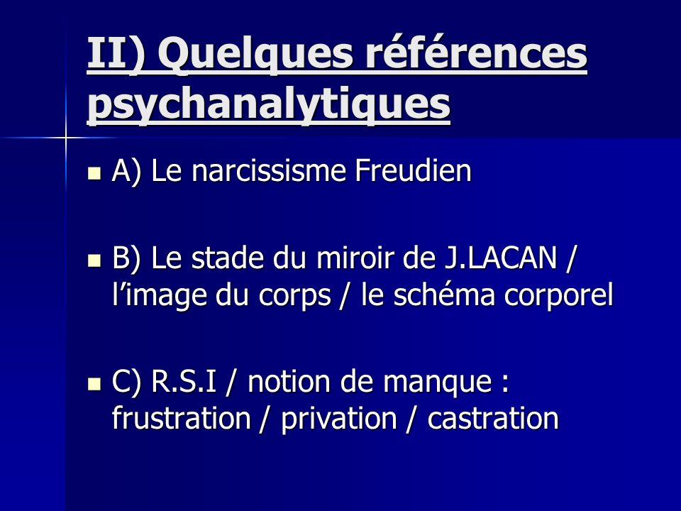II) Quelques références psychanalytiques