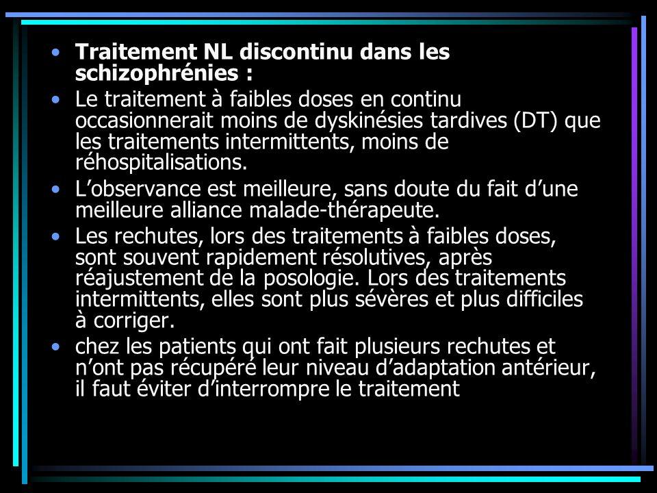 Traitement NL discontinu dans les schizophrénies :