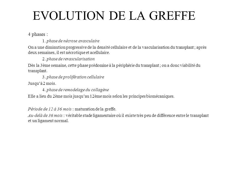 EVOLUTION DE LA GREFFE 4 phases : 1. phase de nécrose avasculaire