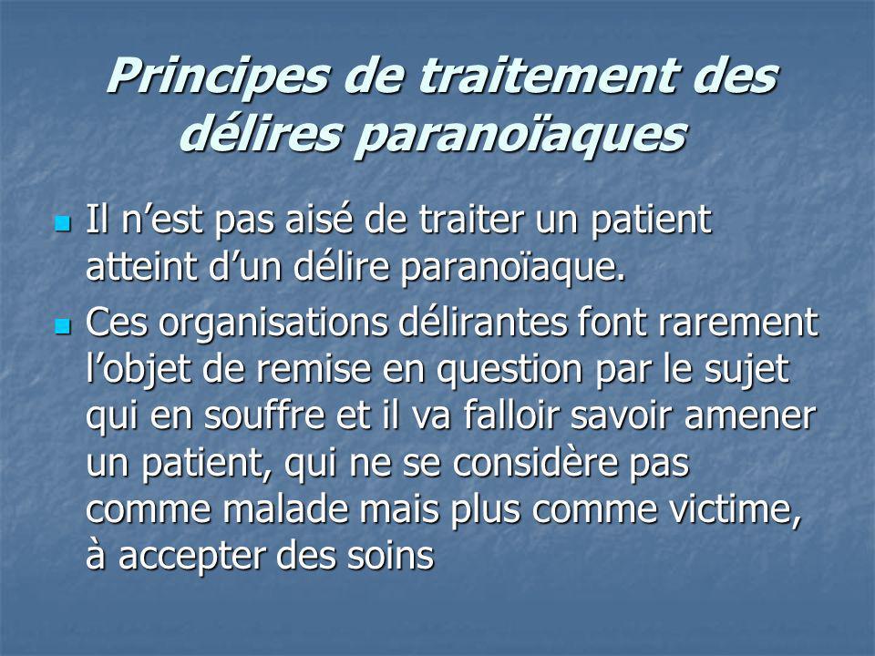 Principes de traitement des délires paranoïaques