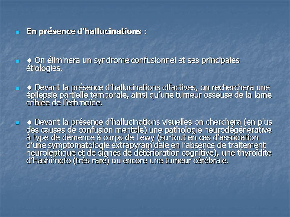 En présence d hallucinations :