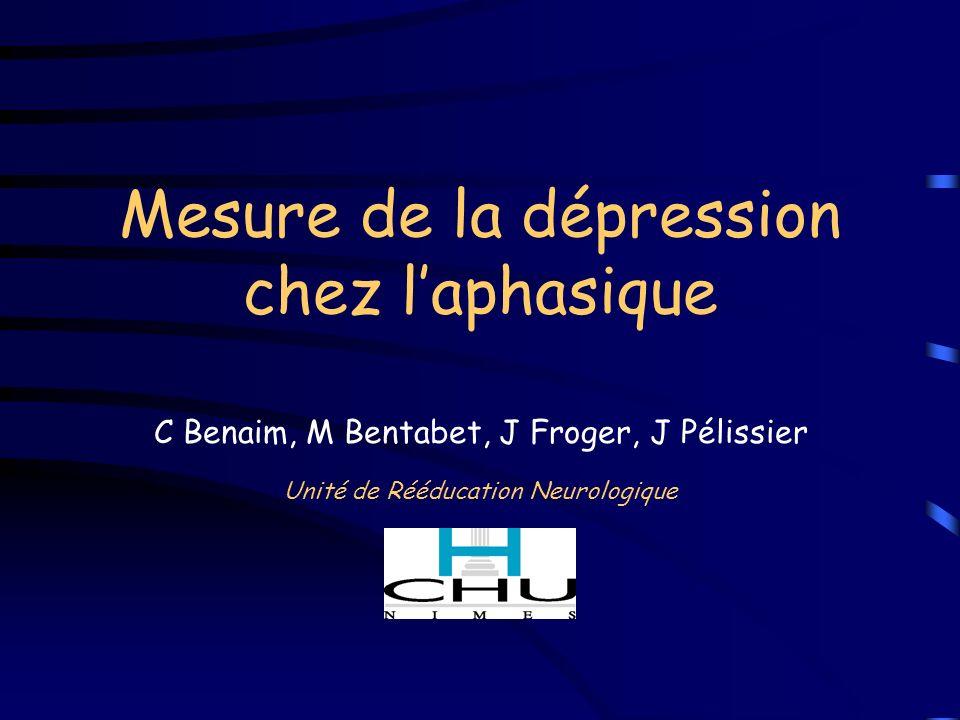 Mesure de la dépression chez l'aphasique