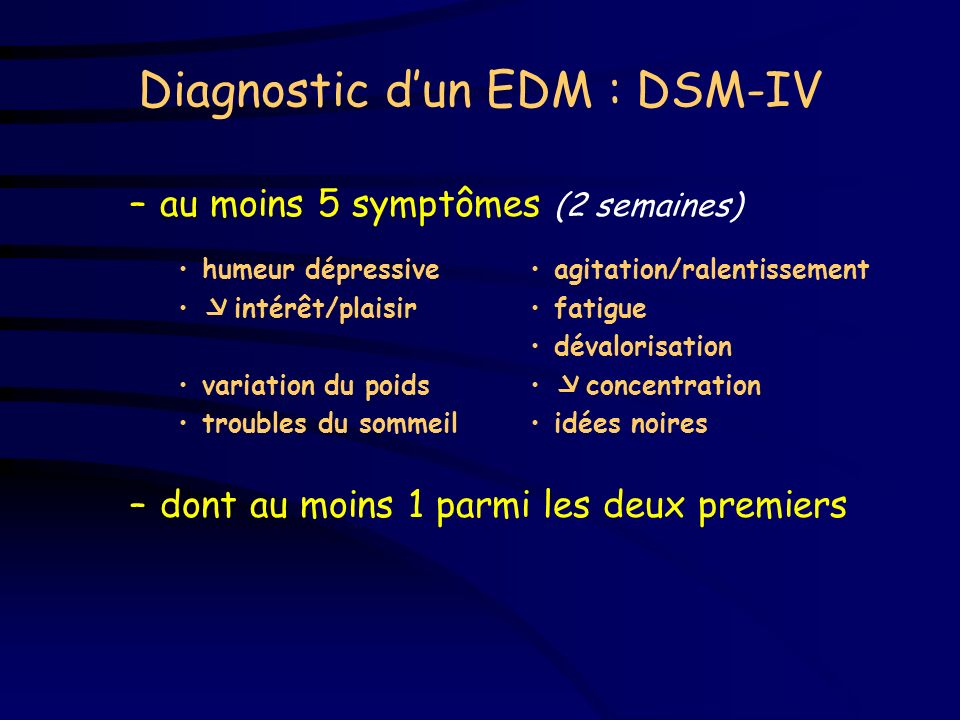 Diagnostic d'un EDM : DSM-IV