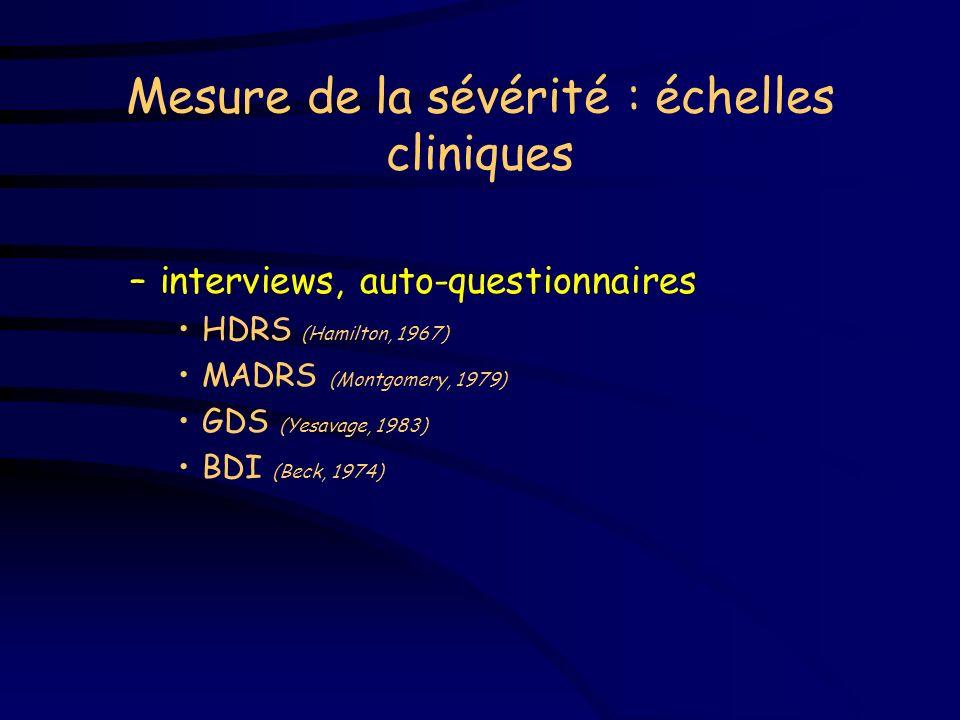Mesure de la sévérité : échelles cliniques
