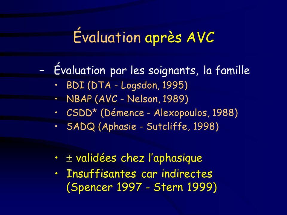 Évaluation après AVC Évaluation par les soignants, la famille