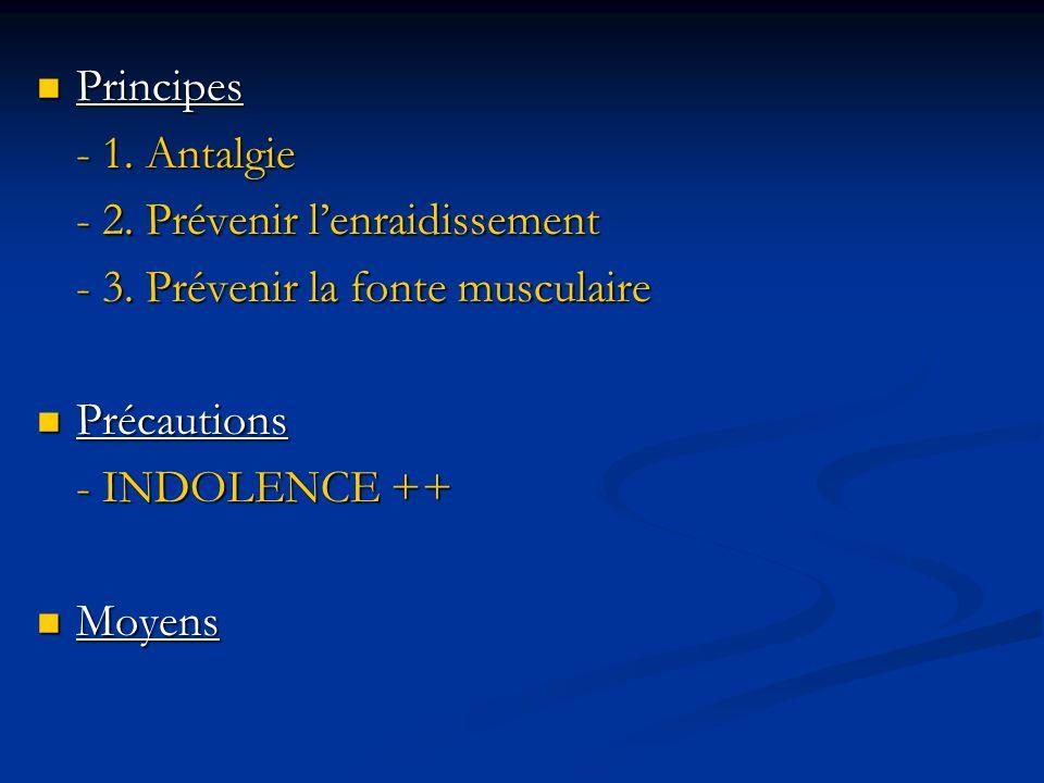Principes- 1. Antalgie. - 2. Prévenir l'enraidissement. - 3. Prévenir la fonte musculaire. Précautions.