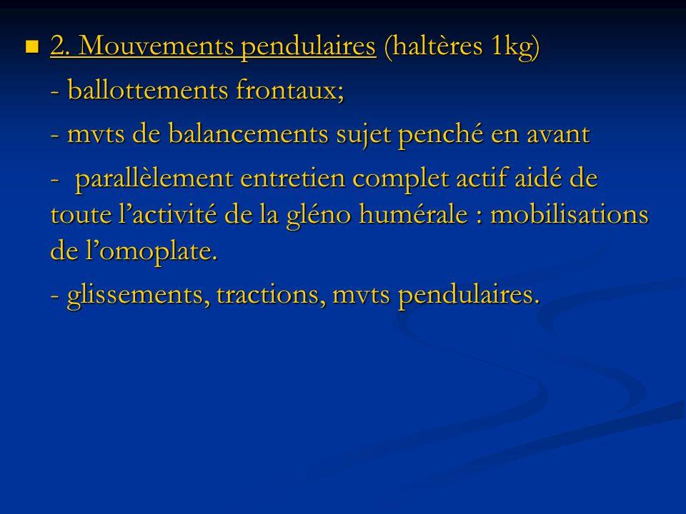 2. Mouvements pendulaires (haltères 1kg)