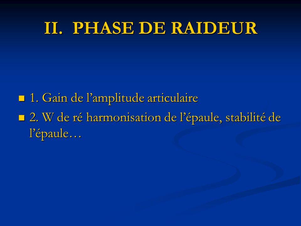II. PHASE DE RAIDEUR 1. Gain de l'amplitude articulaire