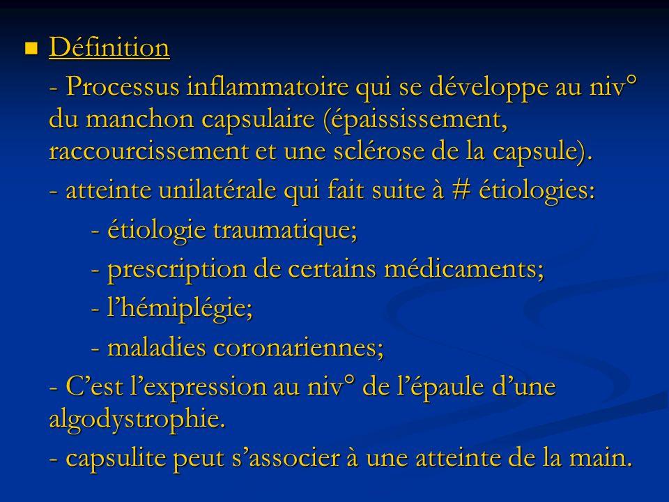 Définition - Processus inflammatoire qui se développe au niv° du manchon capsulaire (épaississement, raccourcissement et une sclérose de la capsule).