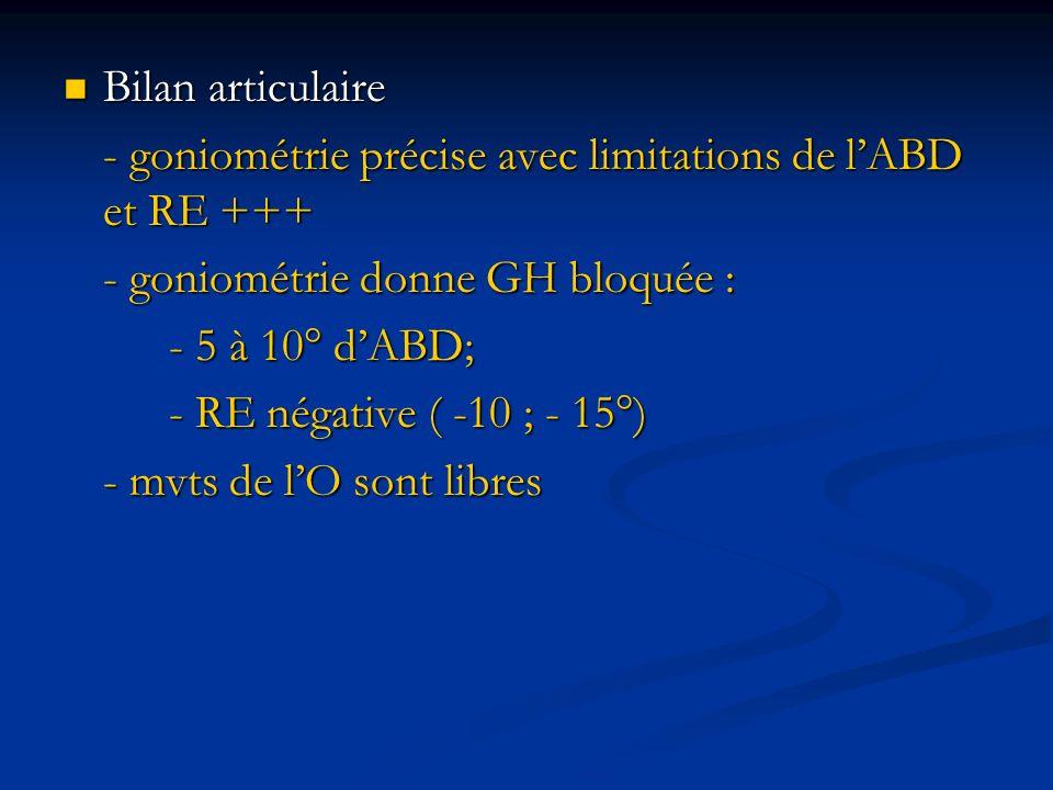Bilan articulaire- goniométrie précise avec limitations de l'ABD et RE +++ - goniométrie donne GH bloquée :