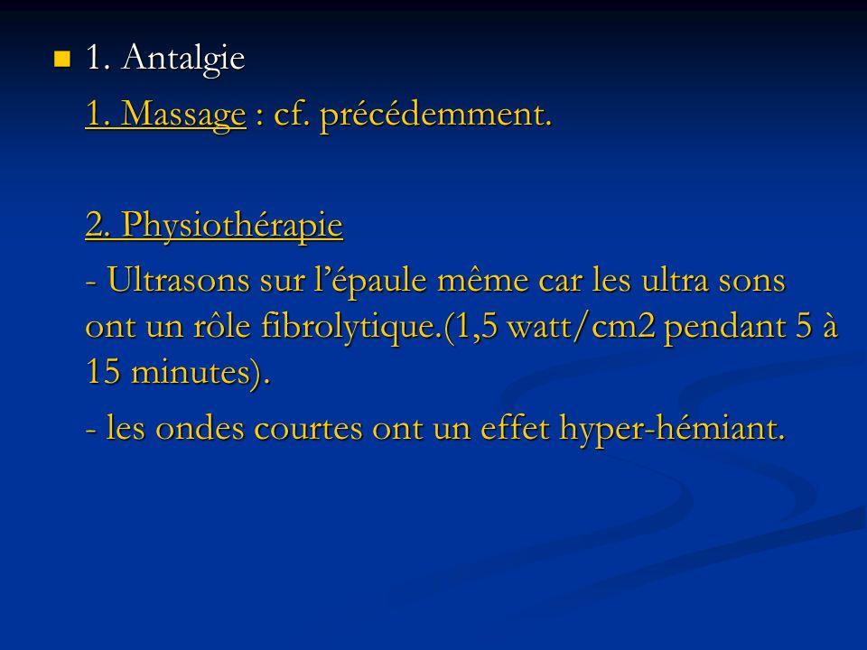 1. Antalgie 1. Massage : cf. précédemment. 2. Physiothérapie.
