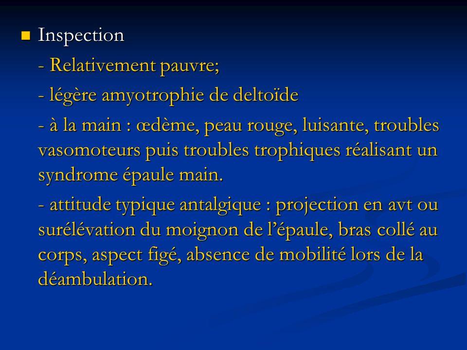 Inspection - Relativement pauvre; - légère amyotrophie de deltoïde.