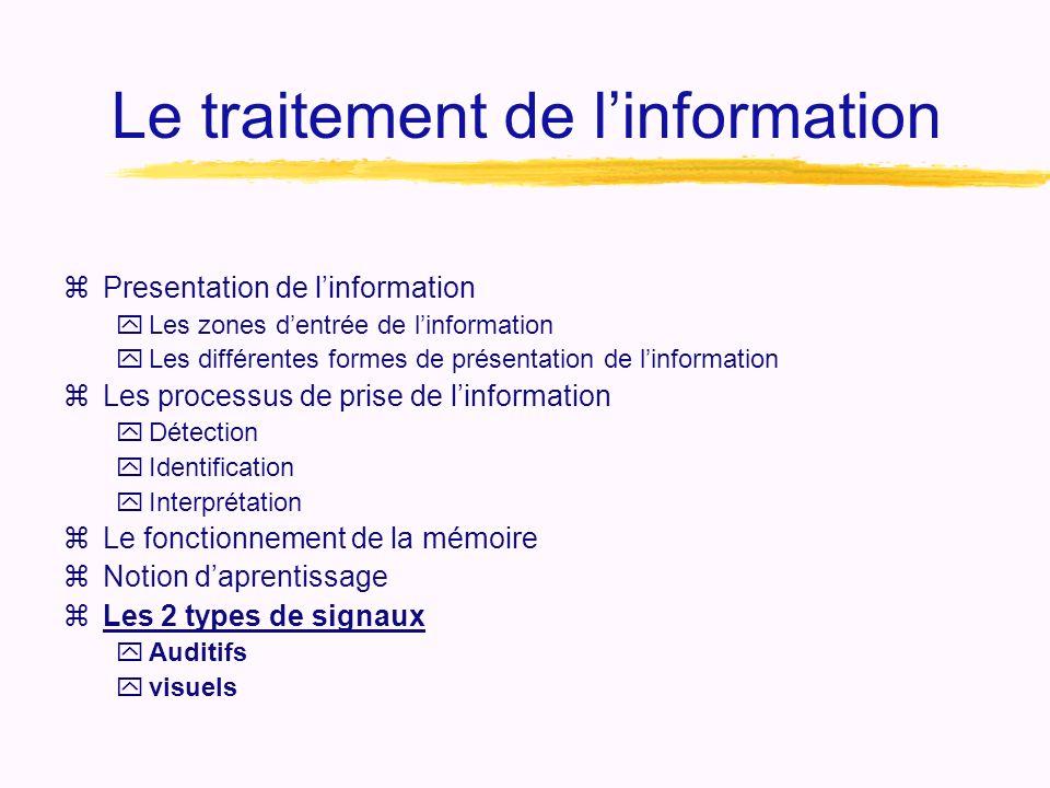 Le traitement de l'information