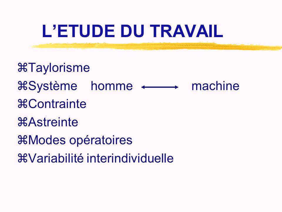 L'ETUDE DU TRAVAIL Taylorisme Système homme machine Contrainte