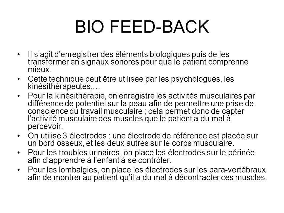 BIO FEED-BACK Il s'agit d'enregistrer des éléments biologiques puis de les transformer en signaux sonores pour que le patient comprenne mieux.