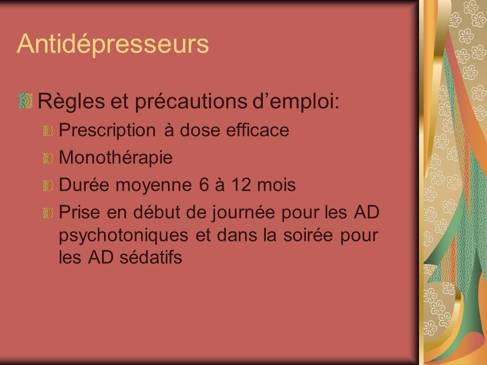 Antidépresseurs Règles et précautions d'emploi: