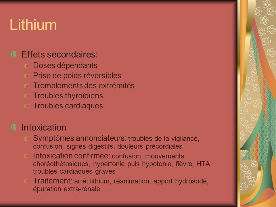Lithium Effets secondaires: Intoxication Doses dépendants