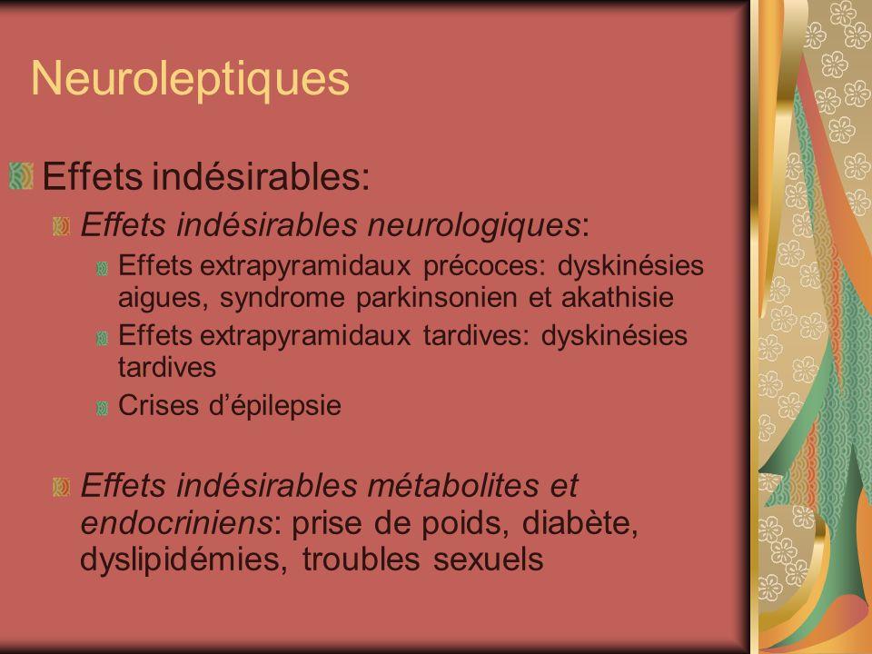 Neuroleptiques Effets indésirables: Effets indésirables neurologiques: