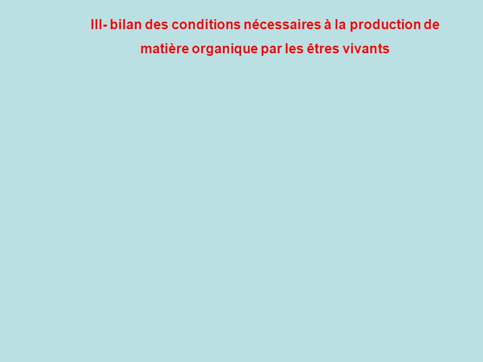 III- bilan des conditions nécessaires à la production de
