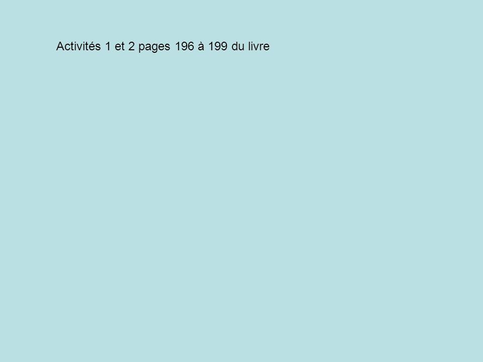 Activités 1 et 2 pages 196 à 199 du livre