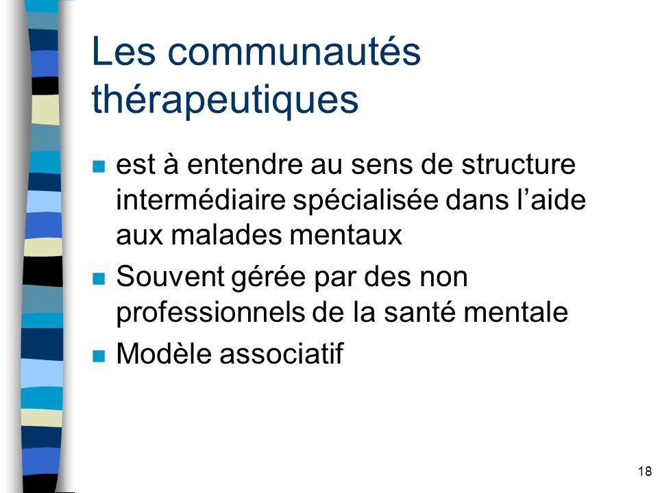 Les communautés thérapeutiques