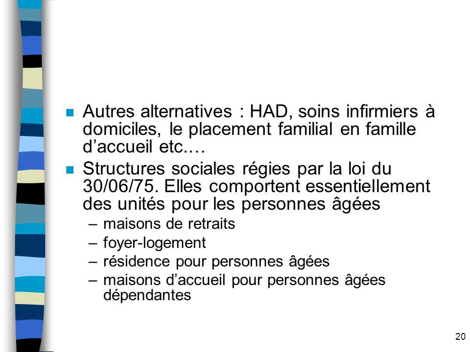 Autres alternatives : HAD, soins infirmiers à domiciles, le placement familial en famille d'accueil etc.…