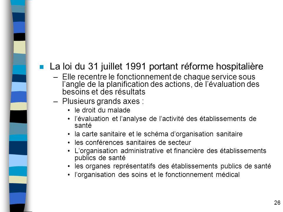 La loi du 31 juillet 1991 portant réforme hospitalière
