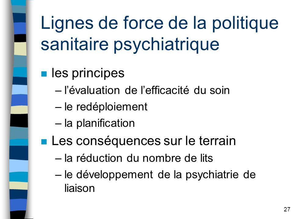 Lignes de force de la politique sanitaire psychiatrique