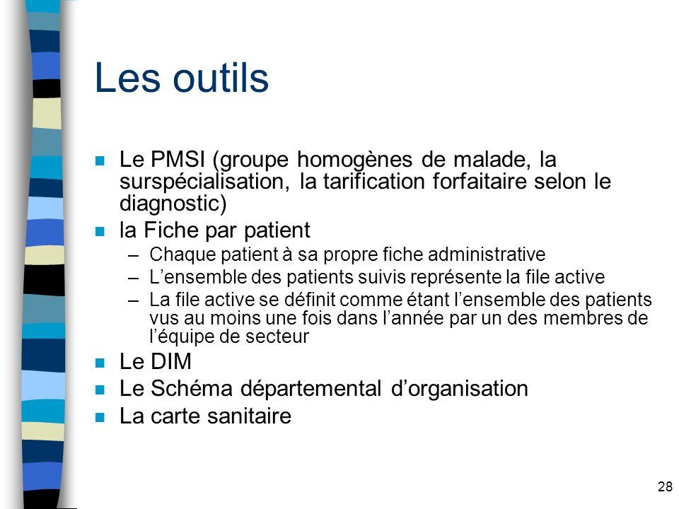 Les outils Le PMSI (groupe homogènes de malade, la surspécialisation, la tarification forfaitaire selon le diagnostic)