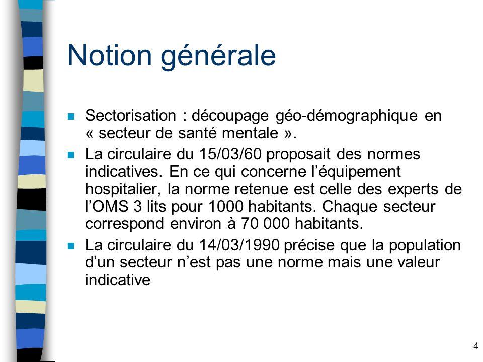 Notion générale Sectorisation : découpage géo-démographique en « secteur de santé mentale ».