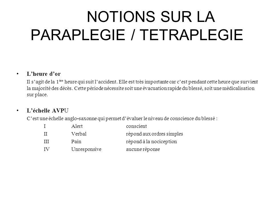 NOTIONS SUR LA PARAPLEGIE / TETRAPLEGIE