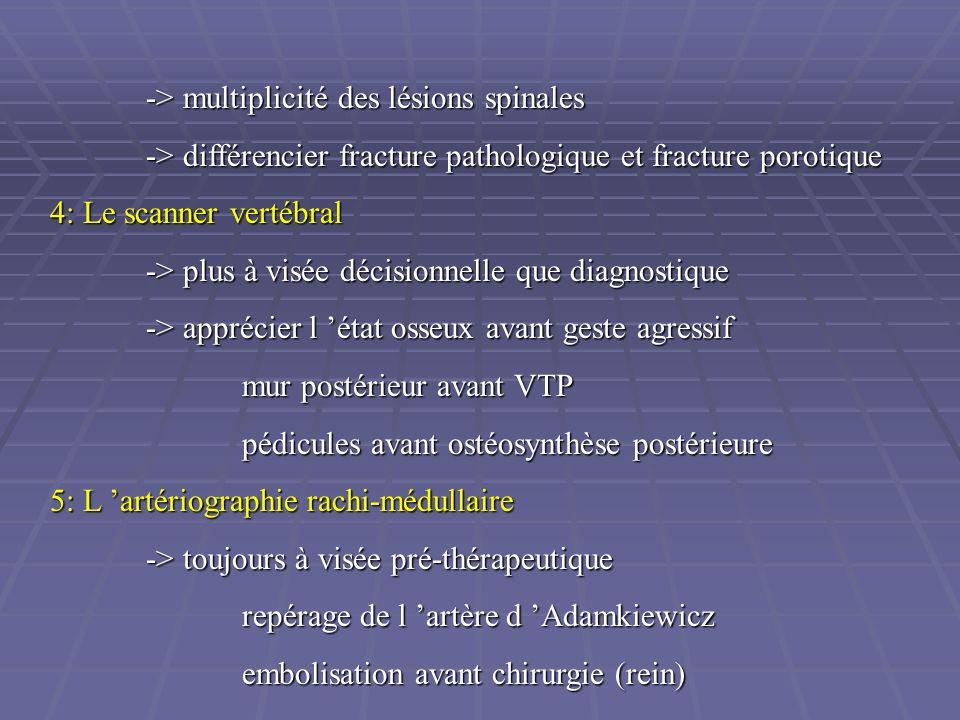 -> multiplicité des lésions spinales