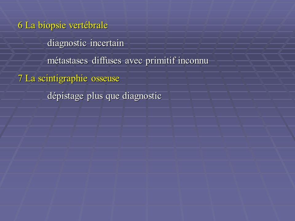 6 La biopsie vertébrale diagnostic incertain. métastases diffuses avec primitif inconnu. 7 La scintigraphie osseuse.