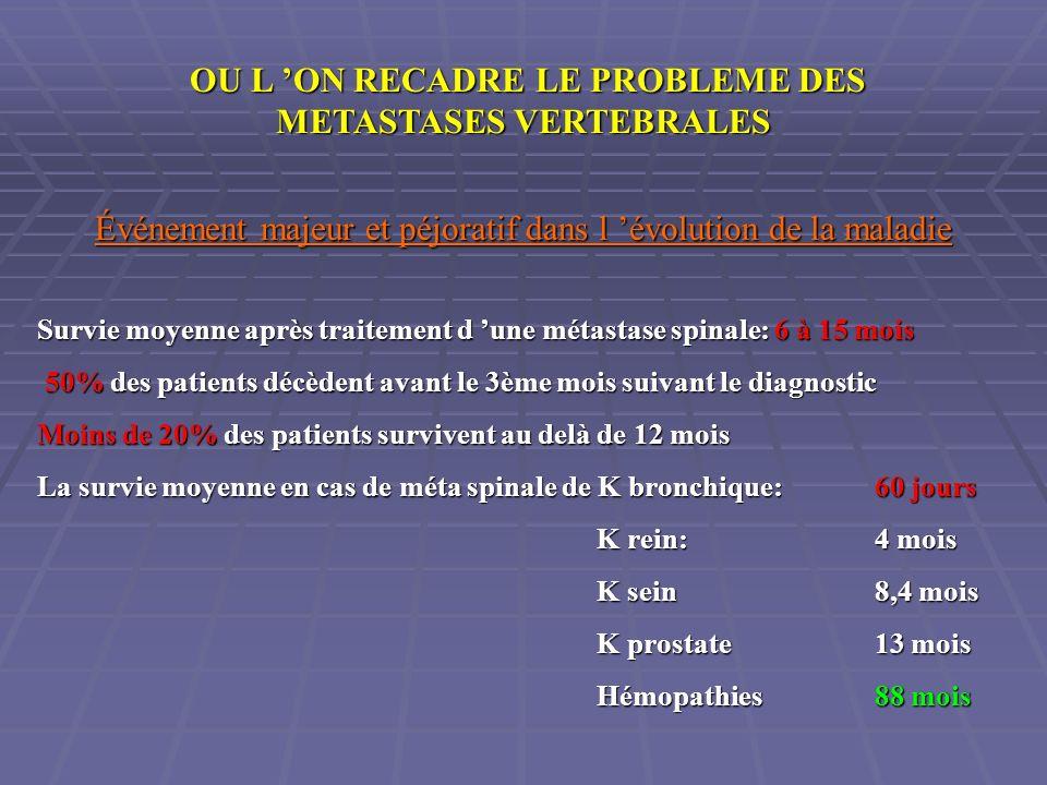 OU L 'ON RECADRE LE PROBLEME DES METASTASES VERTEBRALES