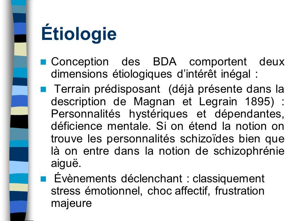 Étiologie Conception des BDA comportent deux dimensions étiologiques d'intérêt inégal :