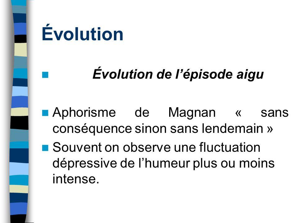 Évolution Évolution de l'épisode aigu