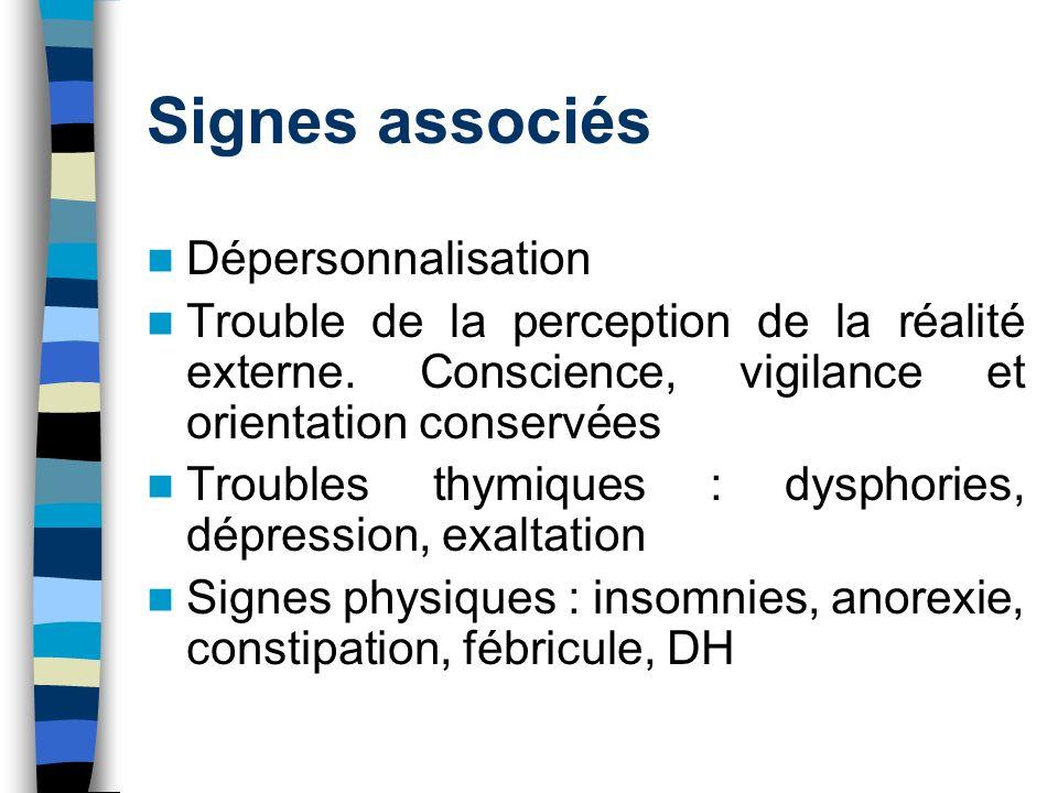 Signes associés Dépersonnalisation