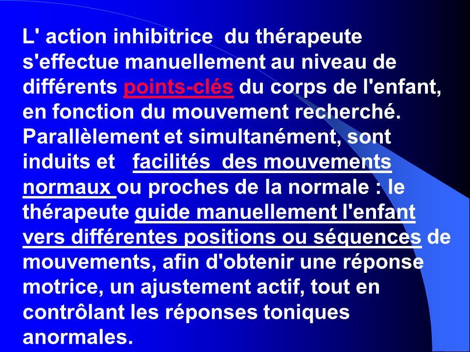 L action inhibitrice du thérapeute s effectue manuellement au niveau de différents points-clés du corps de l enfant, en fonction du mouvement recherché.