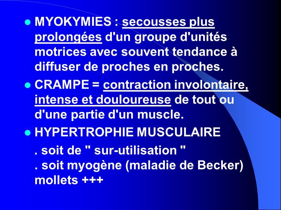 MYOKYMIES : secousses plus prolongées d un groupe d unités motrices avec souvent tendance à diffuser de proches en proches.