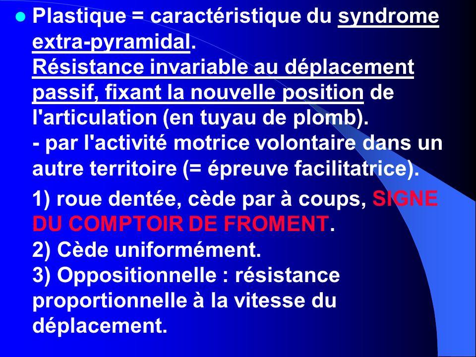 Plastique = caractéristique du syndrome extra-pyramidal