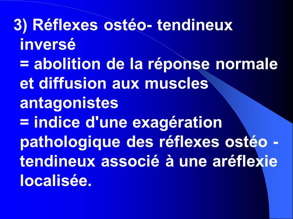 3) Réflexes ostéo- tendineux inversé = abolition de la réponse normale et diffusion aux muscles antagonistes = indice d une exagération pathologique des réflexes ostéo - tendineux associé à une aréflexie localisée.