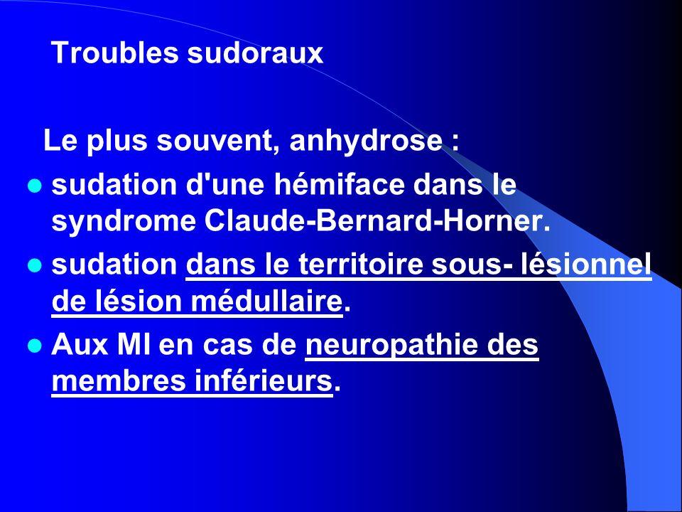 Troubles sudoraux Le plus souvent, anhydrose : sudation d une hémiface dans le syndrome Claude-Bernard-Horner.