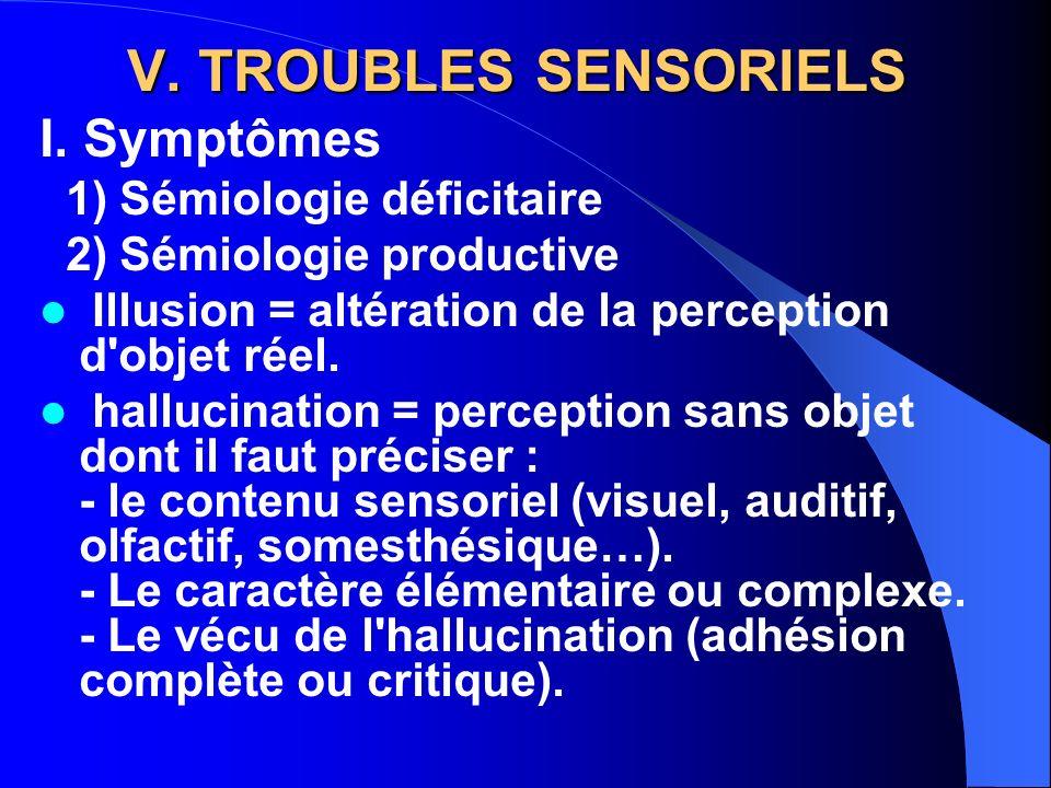 V. TROUBLES SENSORIELS I. Symptômes 1) Sémiologie déficitaire