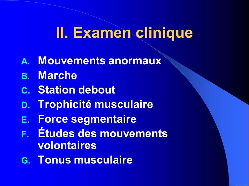 II. Examen clinique Mouvements anormaux Marche Station debout